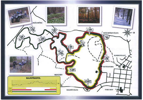 Karta Motionsspåret i Tyringe - Korpen
